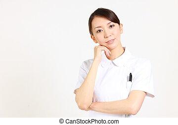 nurse thinks about something - studio shot of Japanese nurse...