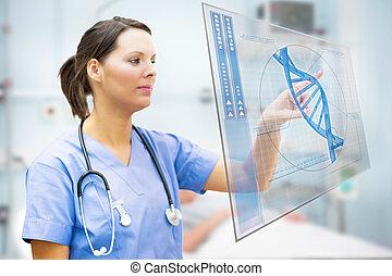 Nurse touching screen displaying blue DNA helix