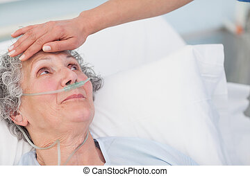 Nurse touching the forehead of a patient