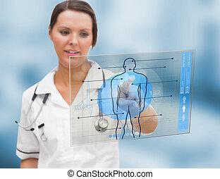 Nurse using a futuristic interface