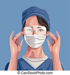 nurse using fase mask and glasses ,covid19 protection vector illustration design