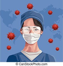 nurse using fase mask with continents ,covid19 protection vector illustration design