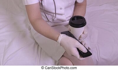 Nurse using remote control