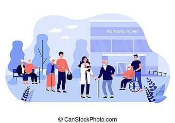 Nurse, visitors and old people in front of nursing home