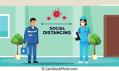 nurse wearing medical mask and paramedic with social distancing for covid19 prevention ,4k video animation