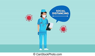 nurse wearing medical mask and social distancing for covid19...