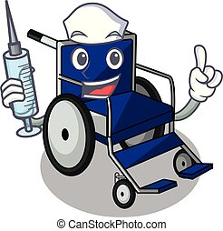Nurse wheelchair in the a character shape