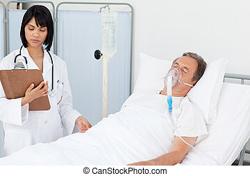 Nurse whith her mature  patient