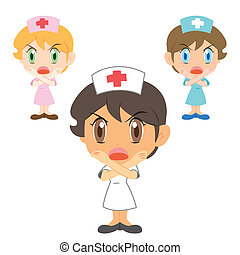 nurse with a denial of action , vector illustration