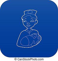 Nurse with a newborn icon blue vector