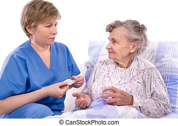 nurse with a senior woman