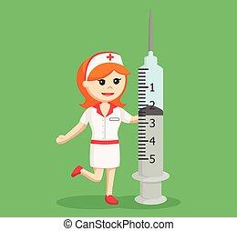 nurse with big syringe
