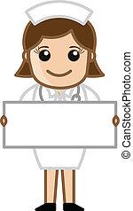 Nurse with Blank Banner Vector - Drawing Art of Cartoon...