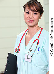 Nurse with clip-board