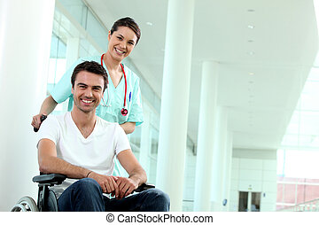 Nurse with disabled person