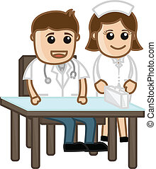 Nurse with Doctor - Medical Cartoon