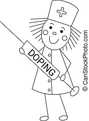 Nurse with doping syringe.