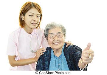 Nurse with elderly woman