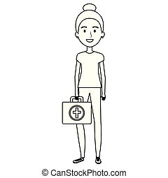 nurse with medical kit character