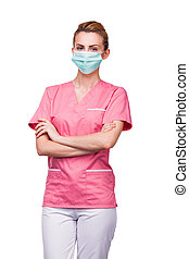 young nurse with medical mouth protection on white
