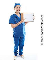 Nurse with paper clip