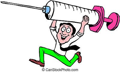 nurse with syringe cartoon illustration