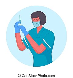 Nurse with syringe for vaccination portrait