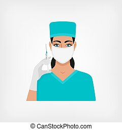 nurse with syringe in medical mask and gloves. vector...