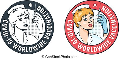 Nurse with syringe - retro vaccination logo