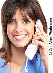 nurse with telephone