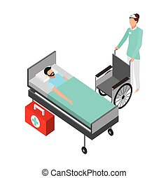 nurse with wheelchair patient in bed medical
