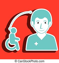 nurse woman and wheelchair isolated icon design
