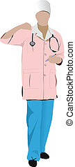 Nurse woman with white doctor`s smo