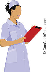 Nurse woman with white doctor`s sm