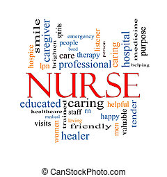 Nurse Word Cloud Concept with great terms such as rn, care,...