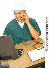 Nurse Working On Computer