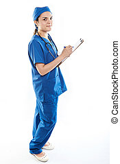 Nurse write on paper clip