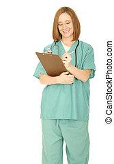 Nurse Write Something On The Clip Board