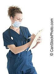 Nurse writing on a clipboard