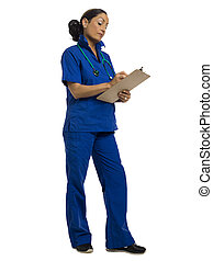 nurse writing on the medical clip board