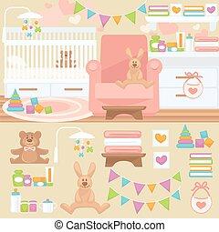Nursery and baby room interior.