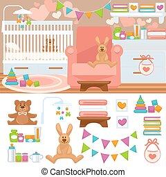 Nursery and childhood bedroom interior.