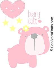 nursery art baby girl bear