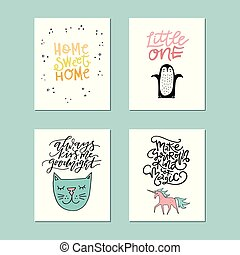 Collection of cute vector posters for nursery with animals and phrases drawn by hand.