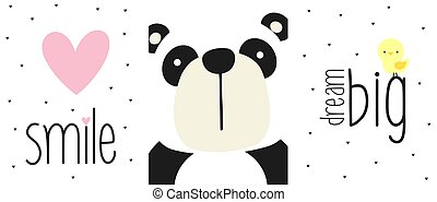 cute panda bear face with quotes and design elements. design for baby and children. can be used for baby room wall art, nursery decoration or invitations