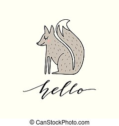 Cute hand drawn illustration of a fox with phrase hello. Great vector art for nursery or childrens room.