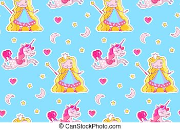 Nursery Baby Seamless Pattern with Little Fairy Princess, Magic Unicorn, Magic Wand, Pink Heart, Crescent Moon and Stars.