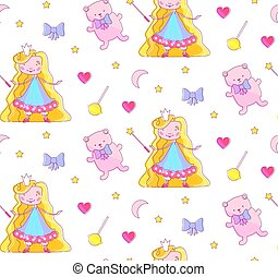 Nursery Baby Seamless Pattern with Little Fairy Princess, Teddy Bear, Magic Wand, Bow, Pink Heart, Crescent Moon and Stars.