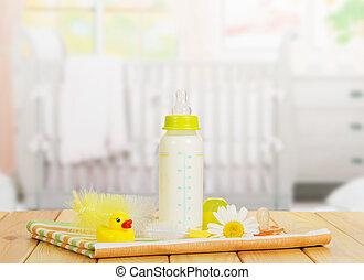 nursery., butelki, szczotka, pacyfikator, myć, stół, mleczny