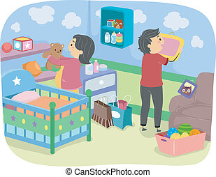 Nursery Decoration - Illustration of Soon-to-be-Parents ...